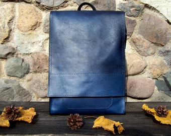 Leather backpack, Blue leather backpack, Laptop backpack, Messenger backpack, Everyday leather backpack, Work leather backpack