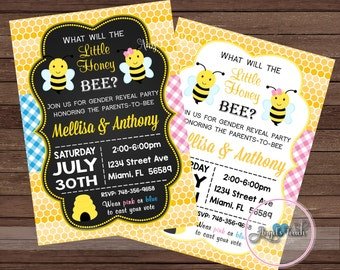 Bumble Bee Gender Reveal Party Invitation, Bees Baby Gender Reveal Invitation, Bumble Bees Gender Reveal Invitation, Digital File