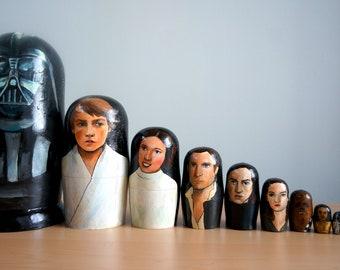 StarWars   Jedi   Darth Vader   Luke Skywalker   Princess Leia   Han Solo   Kylo Ren   Reylo   Rey   Matryoshka   Art Dolls   Nesting Dolls