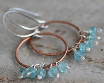 Copper Hoop Earrings Mixed Metal Sterling Silver Bohemian Style Artisan Gemstone Cluster Earrings Blue Apatite Gemstone Jewelry