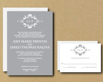 Printable Custom DIY Wedding Invitation - Vintage Ornate Monogram