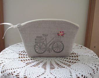 Essential Oils Linen Clutch Cosmetic Bag  Purse Retro Bicycle Hand Embroidery Wedding Bridesmaid Gift