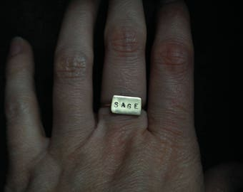 Sage // Brass Stamped Word Ring // Size 5.5