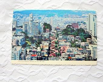 Lombard Street San Francisco Postcard, California Postcard, Crookedest Street Postcard, Vintage  San Francisco Souvenir