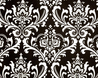 Black Damask Fabric by the YARD Premier Prints Ozborne cotton upholstery home decor fabrics curtains pillows runners drapes SHIPsFAST