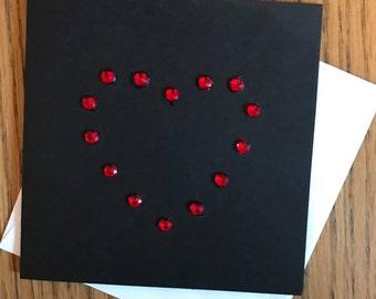 Red gem heart card