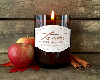 Fall Candle, Harvest Scent, Small Batch, Artisan Candle, Handmade, Soy Wax, Amber Glass, Autumn Fragrance, Spiced Apple, Wine Bottle Decor