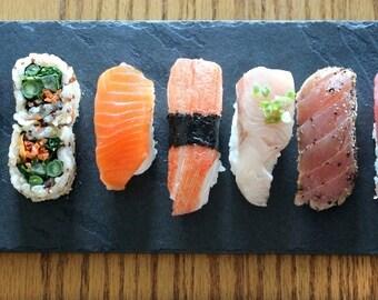 Natural Slate Sushi Plate - Black or Sea Green