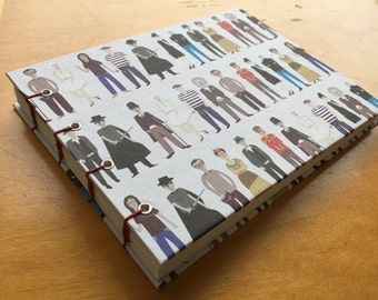 Mini Icons Sketchbook // Cool Famous People Notebook // Coptic Stitch Journal // Handmade Hardcover // Gift Under 10 // David Bowie
