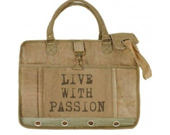 Live with Passion Laptop Messenger Bag Tote Recycled Military Canvas Eco Friendly