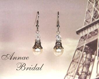"Victorian bridal earrings, wedding, antiqued silver and ivory pearl earrings, Swarovski, Bridal, wedding, ""Romance Me"" earrings"