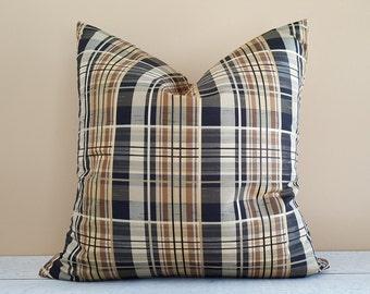 Tan Black Cream Pillow Cover, Tan Black Plaid Pillow, Brown Plaid Pillows, Cabin Pillows, Mens Throw Pillows, Winter Home Decor, 18x18