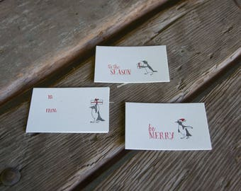 Penguin tag 6pk letterpress gift tags, eco-friendly perfect for Christmas