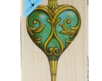 Inkadinkado Tim Coffee Christmas Ornament Heart Swirls Wooden Rubber Stamp