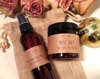 Bulgarian ROSE Skincare Set | Shea Butter Lotion + Rose Toner Mist | Natural Handmade | Brightening | Face Cream | Mothers day gift