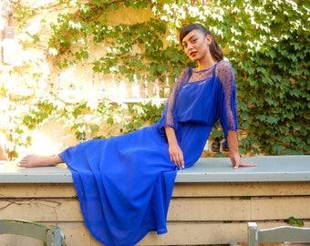 Vintage Maxi Deep Blue Dress, Swing Dress, Polka dots, Transparent sleeves
