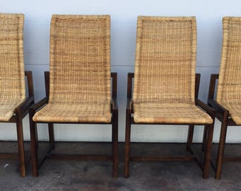 Modern Rattan and Wood Set of Chairs