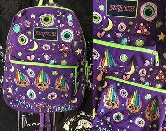The Magic Troll Handpainted Jansport Purple & Green Backpack