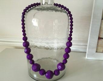Vintage Bright Purple Chuncky Statement Beaded Necklace