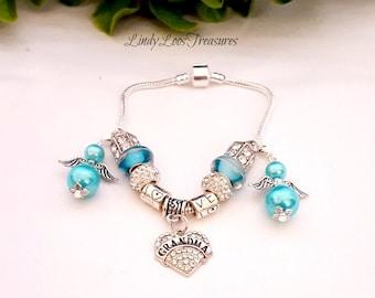 Grandma Charm Bracelet, Proud Grandma Bracelet, Vintage Silver Charm Bracelet, Gift for Grandma, Grandma Bracelet, Mothers Day Gift