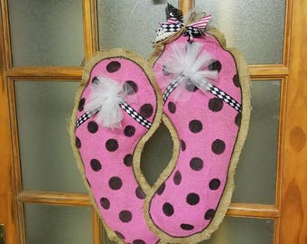 Flip-Flops Burlap Door Hanger