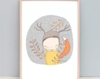 Girl Series Art Print - Whimsical Deer Fox Girl in The Forest - Yellow and Orange