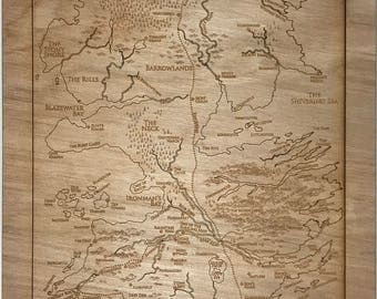 """Laser Engraved Map of Westeros - Game of Thrones 9"""" x 20"""""""