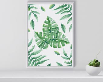 Greenery tropical wall art, Tropical Print, Art Print, Plants, Greenery, Gift for her, home decor, Housewarming gift, digital download