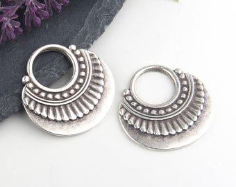 Silver, Tribal Loop Earring Dangles, Hoop Earring Pendants, 2 pieces // SP-314