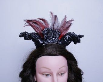 Red Feather Headband Horns Crown