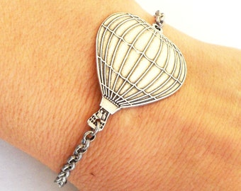 Steampunk Hot Air Balloon Bracelet Sterling Silver Ox Finish
