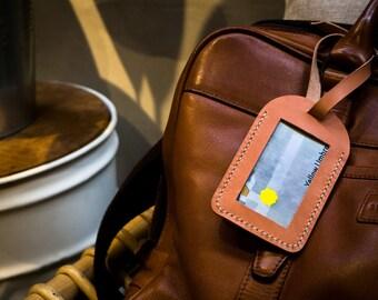 Leather Tag, Luggage Tag Handmade, Leather ID tag