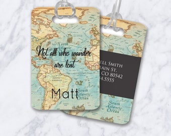 Custom Luggage Tags Personalized Luggage Tag Not All Who Wander Are Lost Travel Vintage Map Luggage Tag College Graduation Gift