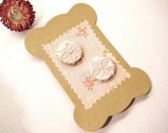 "Vintage Fabric Covered Pale Pink FLOWER Buttons, 7/8"", ANIMAL CHARITY Donation"
