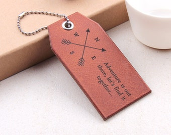 Leather Luggage Tag, Compass Bag Tag, Leather 3rd Anniversary Gift, Travel Tag, Baggage Tags, Wedding Gift, For Wife Husband Boyfriend
