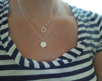 Two Circles Necklace, Dainty Necklace Set, Delicate Necklace, Sterling Silver, Layered Necklace, Two Tier, Two Pendants