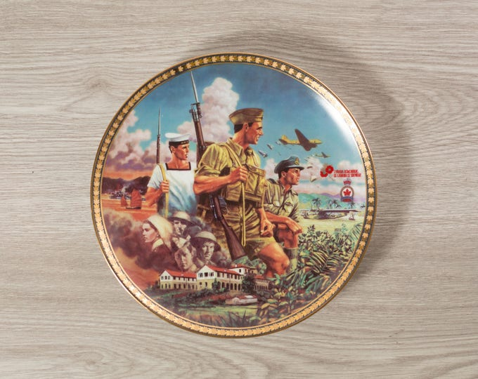 Collectible War Plate / Thy Broad Domain by David Craig / Canada Remembers / Dominion China 1996 / Men in Military Uniform Canadian Forces