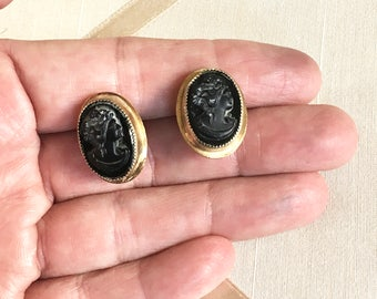 Vintage 50s Coro Cameo Earrings in Black Glass with Gold Wash