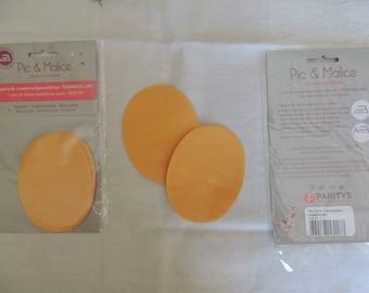 1 pair of elbow/knee pads on yellow-orange clothing
