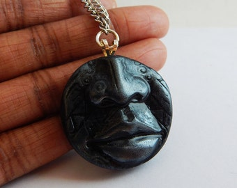 Tribal necklace African Pendant Clay African Necklace African Jewelry Face Pendant Chain Necklace Antique Silver Lips Handmade Men Women