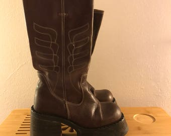 90s Platform Boots Chocolate Brown Leather with Lug Sole 7