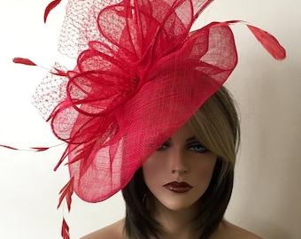 Kentucky Derby red hat. Derby hat. Kentucky Derby red fascinator. Asvot hat, Del Mar hat, wedding , curch snd etc