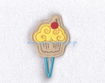 Cupcake with Cherry Feltie Download Embroidery Design Hair Clip