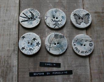 Large button porcelain ref 017
