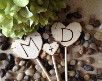 Cupcake Toppers Personalized with YOUR Initials Perfect for Cupcakes or Pies - So Sweet for your Rustic Chic Vintage Country Wedding
