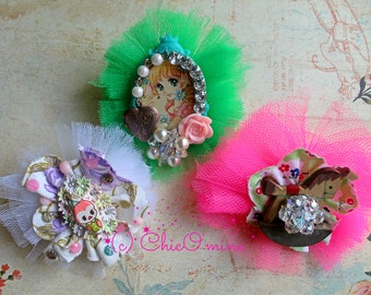 Whimsical Tulle Brooches: Kitsch, Tea Party, Retro, Kawaii, Sweet Lolita, Shabby Chic