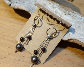 Sterling wire earrings with colored beads, Dangle pearl earrings with brass hoops and silver wire, InnerSunCreations