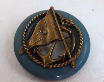 Vintage 1930s 1940s early plastic blue lifesaver brooch or pin with brass anchor, rope and ships signal flag not bakelite