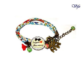 """Schoolteacher bracelet with blue and green liberty of London, """"Great schoolteacher"""" name, glass cabochon, fabric jewellery for women"""