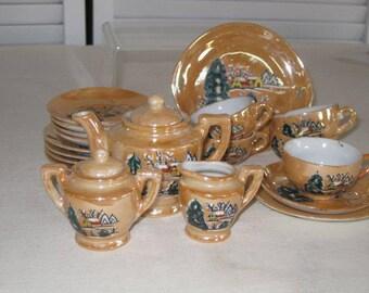 vintage Miniature Lustreware Tea Set - service for 5 - Winter Wonderland scene